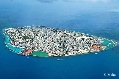 Male' - the Capital protected with a sea wall